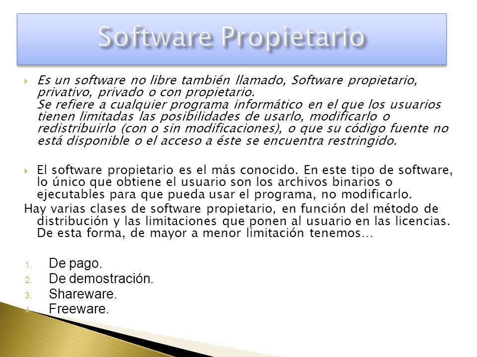 Es un software no libre también llamado, Software propietario, privativo, privado o con propietario. Se refiere a cualquier programa informático en el