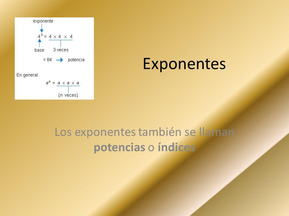 Exponentes Los exponentes también se llaman potencias o índices
