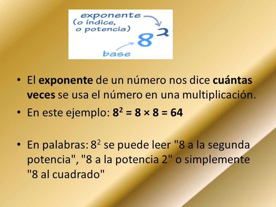 El exponente de un número nos dice cuántas veces se usa el número en una multiplicación. En este ejemplo: 8 2 = 8 × 8 = 64 En palabras: 8 2 se puede l