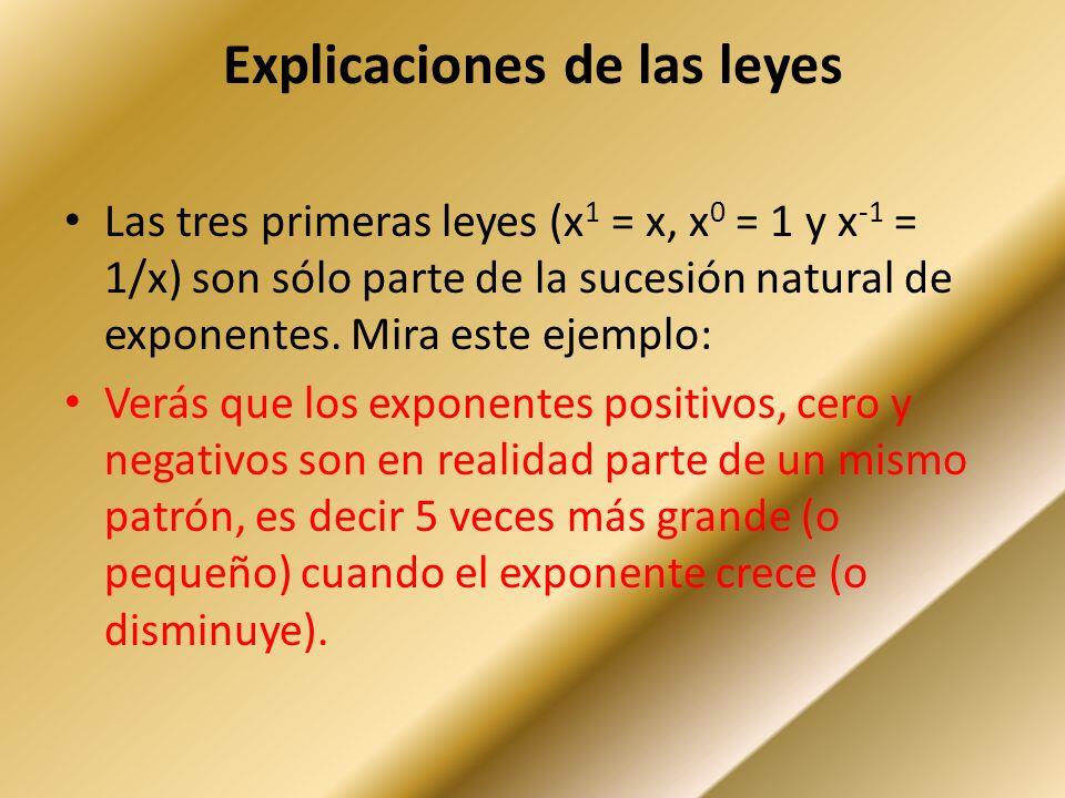 Explicaciones de las leyes Las tres primeras leyes (x 1 = x, x 0 = 1 y x -1 = 1/x) son sólo parte de la sucesión natural de exponentes.