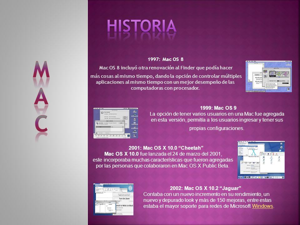 1997: Mac OS 8 Mac OS 8 incluyó otra renovación al Finder que podía hacer más cosas al mismo tiempo, dando la opción de controlar múltiples aplicaciones al mismo tiempo con un mejor desempeño de las computadoras con procesador.