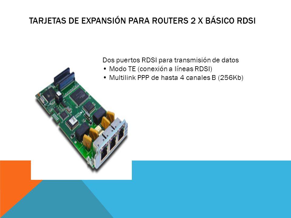 TARJETAS DE EXPANSIÓN PARA ROUTERS 3 WAN SERIE 3 puertos WAN Hasta 2 Mbps Full-duplex Puerto opcional para recepción de reloj Configuración V24/V35/X2