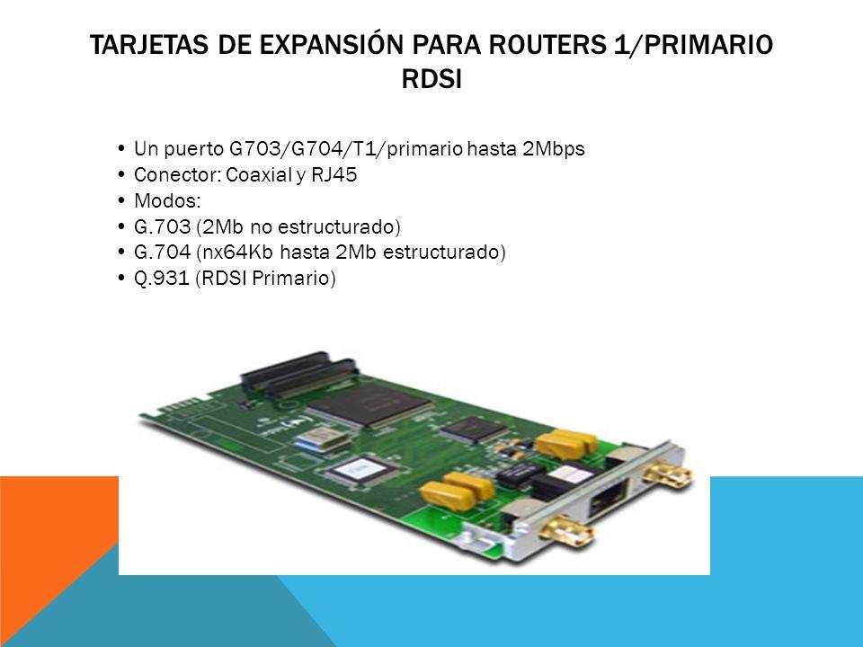 TARJETAS DE EXPANSIÓN PARA ROUTERS 2 X BÁSICO RDSI Dos puertos RDSI para transmisión de datos Modo TE (conexión a líneas RDSI) Multilink PPP de hasta