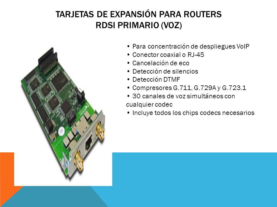 TARJETAS DE EXPANSIÓN PARA ROUTERS 2 X BÁSICO RDSI (VOZ Y DATOS) 2 x BRI RDSI (4 conversaciones) Tercer conector para bypass de un BRI Funcionamiento