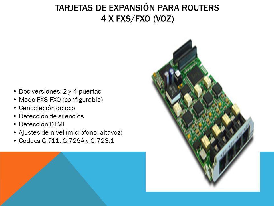TARJETAS DE EXPANSIÓN PARA ROUTERS RDSI PRIMARIO (VOZ) Para concentración de despliegues VoIP Conector coaxial o RJ-45 Cancelación de eco Detección de