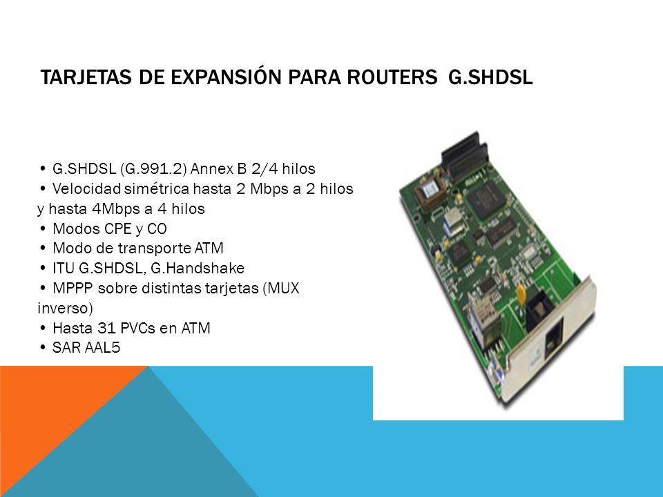 TARJETAS DE EXPANSIÓN PARA ROUTERS ADSL SOBRE RDSI Un Puerto RJ11 ADSL anexo B (RDSI) ANSI T1.413 Issue 2 ITU G.992.1 (G.DMT): Annex A: