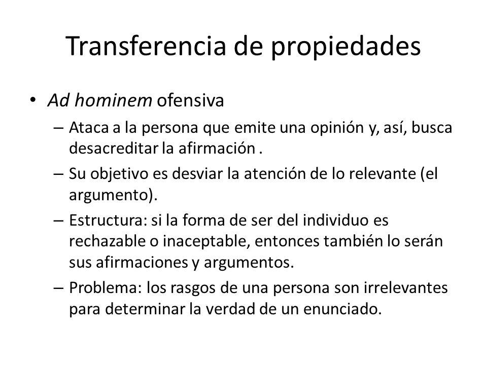 Transferencia de propiedades Ad hominem ofensiva – Ataca a la persona que emite una opinión y, así, busca desacreditar la afirmación. – Su objetivo es