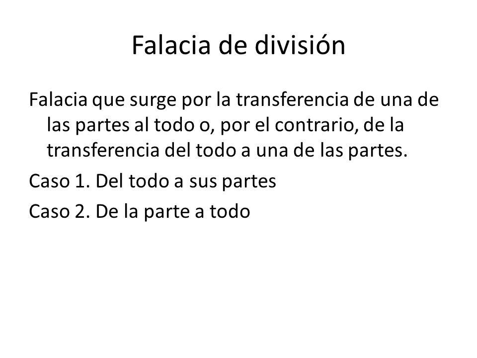 Falacia de división Falacia que surge por la transferencia de una de las partes al todo o, por el contrario, de la transferencia del todo a una de las