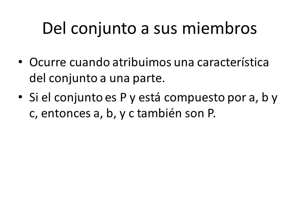Del conjunto a sus miembros Ocurre cuando atribuimos una característica del conjunto a una parte. Si el conjunto es P y está compuesto por a, b y c, e