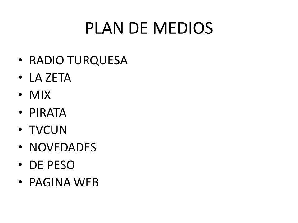PLAN DE MEDIOS RADIO TURQUESA LA ZETA MIX PIRATA TVCUN NOVEDADES DE PESO PAGINA WEB