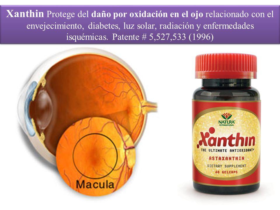 Xanthin Protege del daño por oxidación en el ojo relacionado con el envejecimiento, diabetes, luz solar, radiación y enfermedades isquémicas. Patente