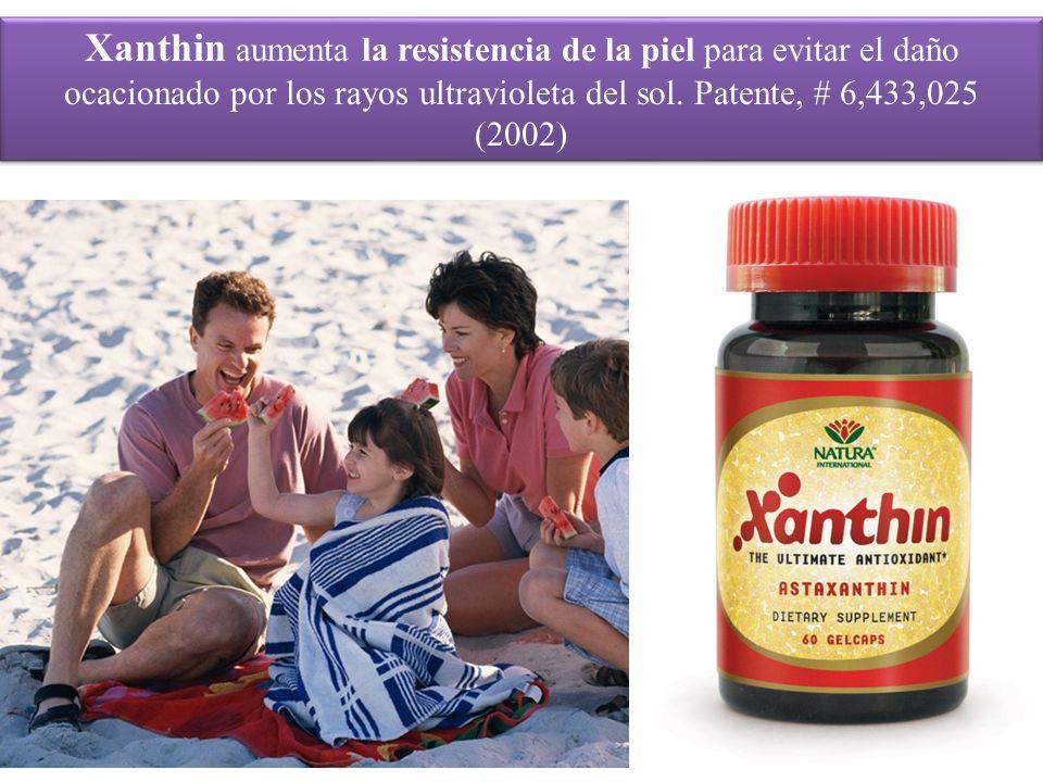Xanthin aumenta la resistencia de la piel para evitar el daño ocacionado por los rayos ultravioleta del sol. Patente, # 6,433,025 (2002)