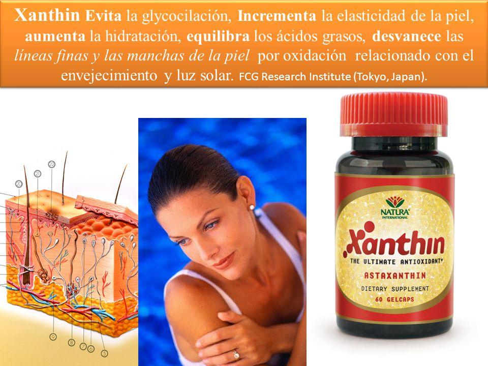 Xanthin Evita la glycocilación, Incrementa la elasticidad de la piel, aumenta la hidratación, equilibra los ácidos grasos, desvanece las líneas finas