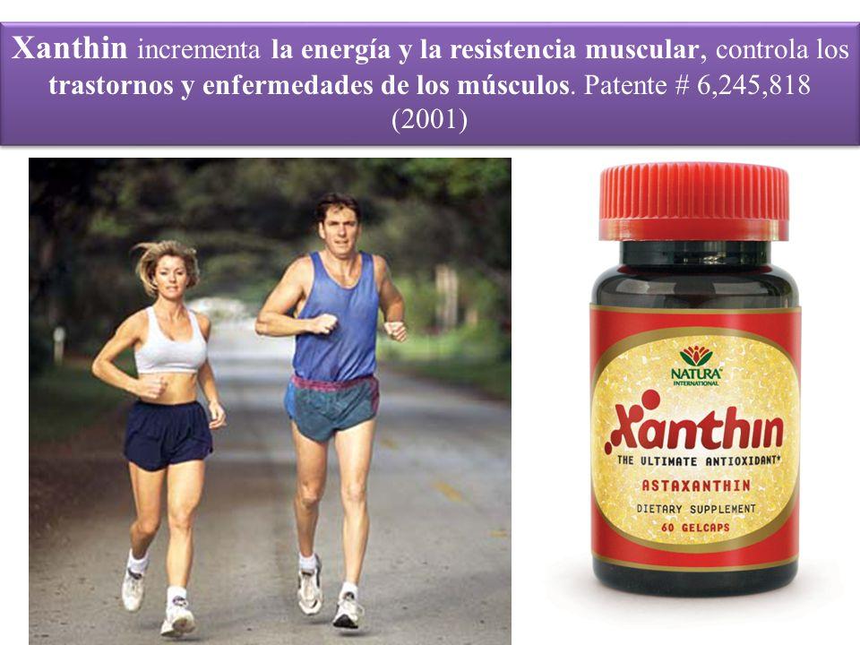Xanthin incrementa la energía y la resistencia muscular, controla los trastornos y enfermedades de los músculos. Patente # 6,245,818 (2001)