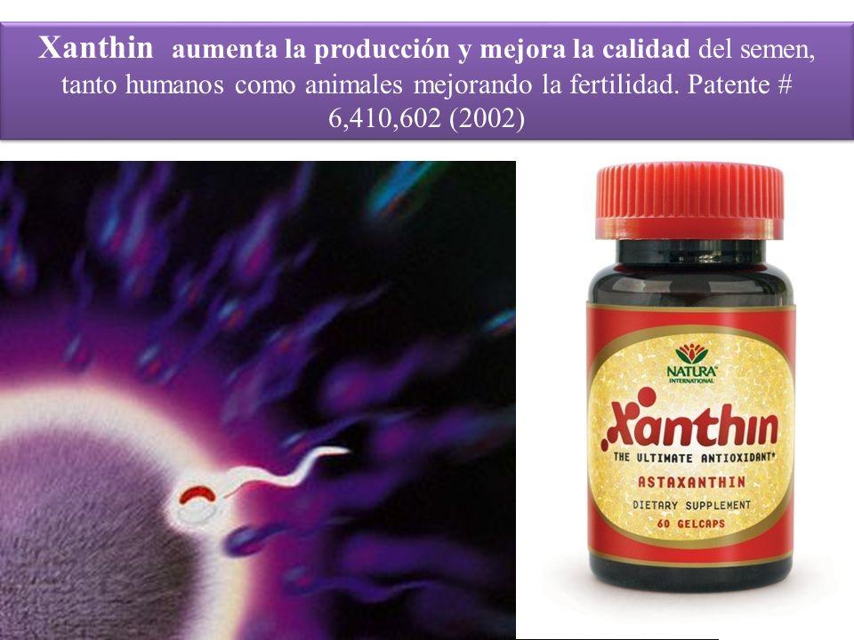 Xanthin aumenta la producción y mejora la calidad del semen, tanto humanos como animales mejorando la fertilidad. Patente # 6,410,602 (2002)