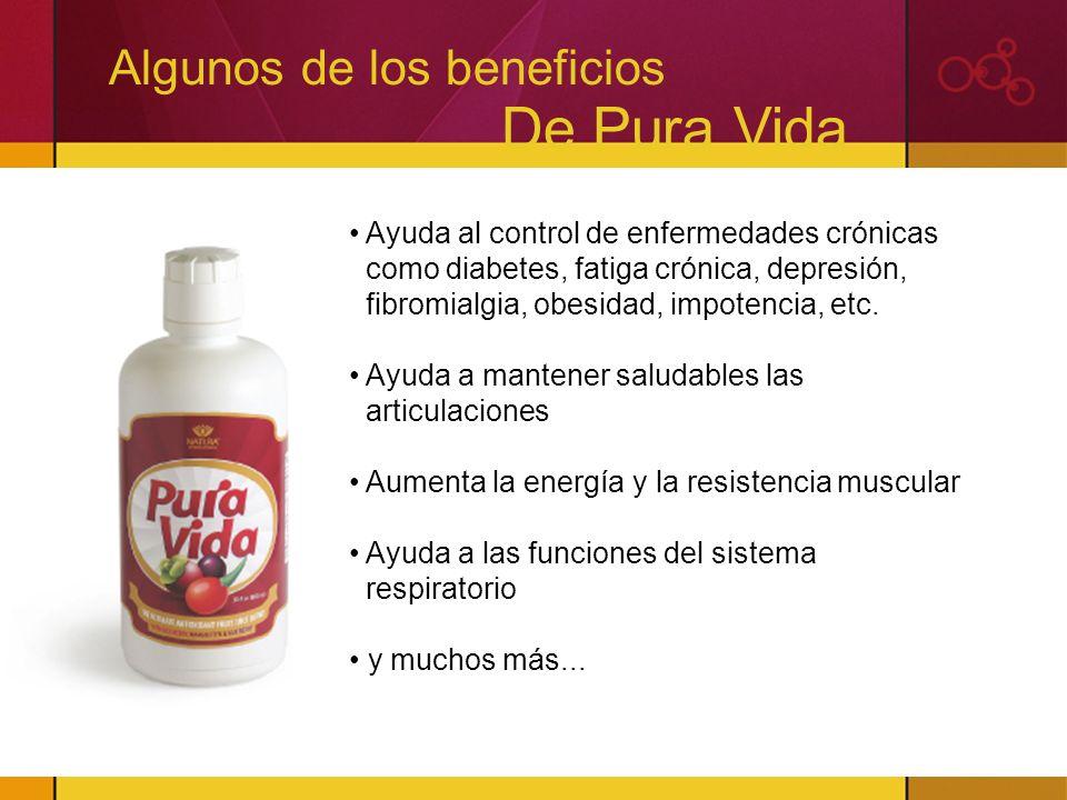Algunos de los beneficios De Pura Vida Ayuda al control de enfermedades crónicas como diabetes, fatiga crónica, depresión, fibromialgia, obesidad, imp
