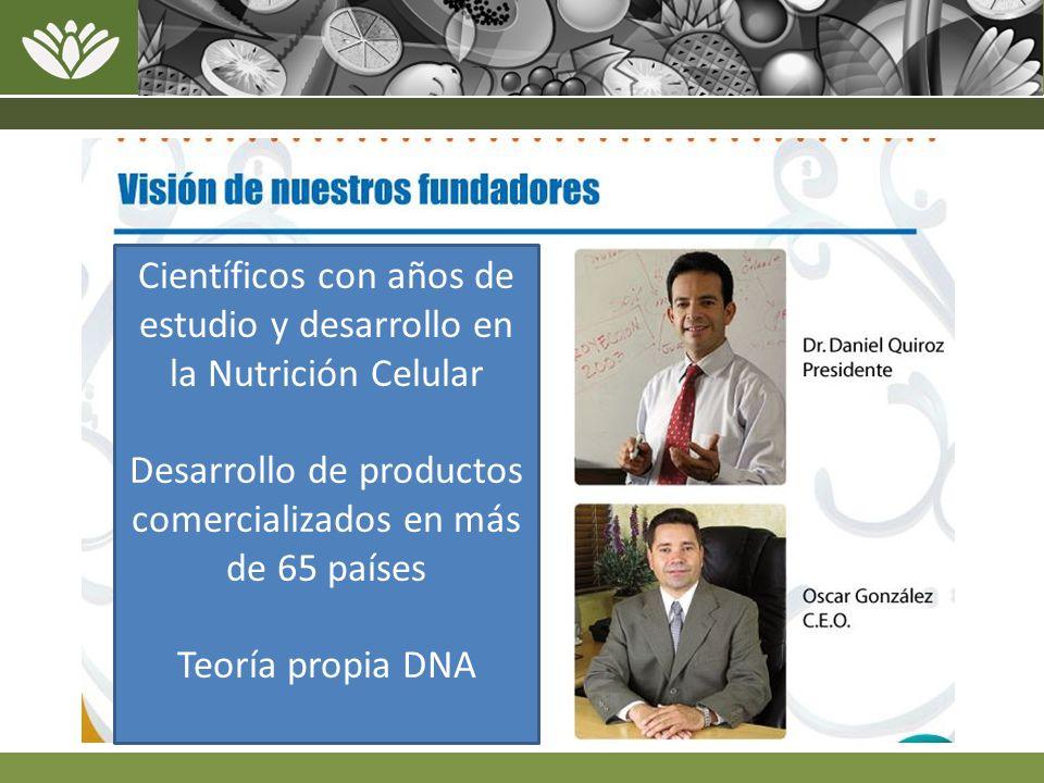 Científicos con años de estudio y desarrollo en la Nutrición Celular Desarrollo de productos comercializados en más de 65 países Teoría propia DNA