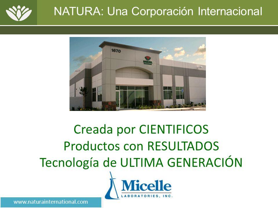 NATURA: Una Corporación Internacional Creada por CIENTIFICOS Productos con RESULTADOS Tecnología de ULTIMA GENERACIÓN www.naturainternational.com