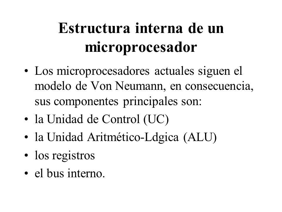 Estructura interna de un microprocesador Los microprocesadores actuales siguen el modelo de Von Neumann, en consecuencia, sus componentes principales