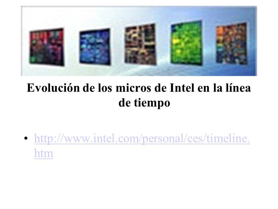 Evolución de los micros de Intel en la línea de tiempo http://www.intel.com/personal/ces/timeline. htmhttp://www.intel.com/personal/ces/timeline. htm