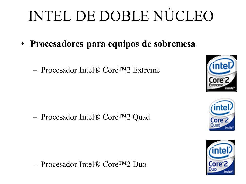 INTEL DE DOBLE NÚCLEO Procesadores para equipos de sobremesa –Procesador Intel® Core2 Extreme –Procesador Intel® Core2 Quad –Procesador Intel® Core2 D