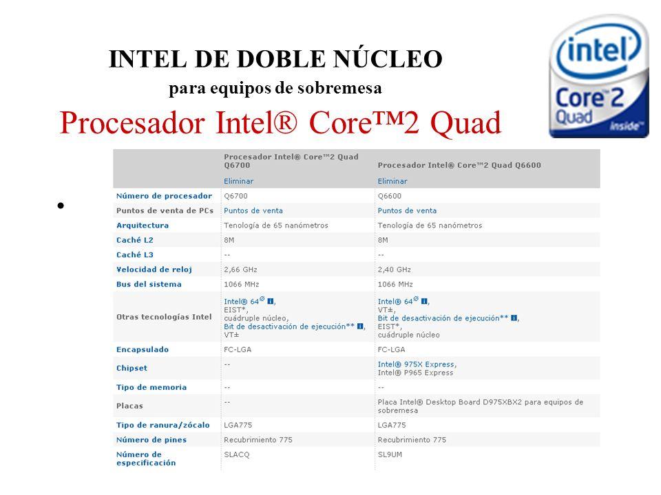 INTEL DE DOBLE NÚCLEO para equipos de sobremesa Procesador Intel® Core2 Quad