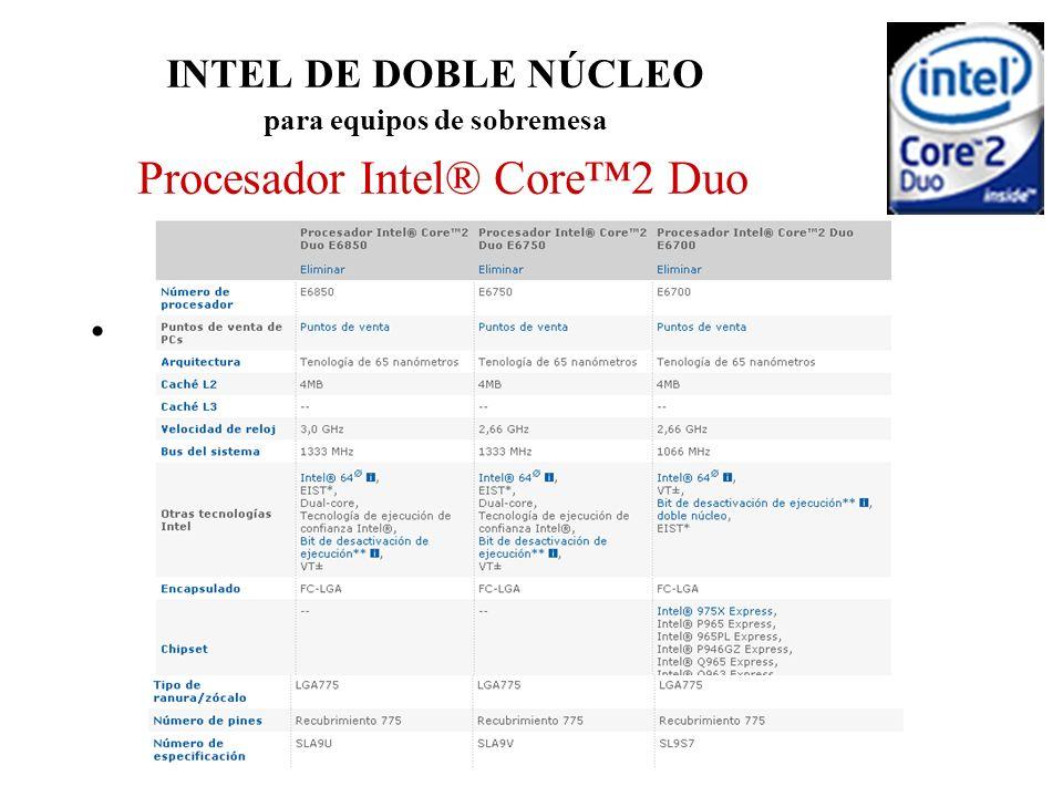 INTEL DE DOBLE NÚCLEO para equipos de sobremesa Procesador Intel® Core2 Duo