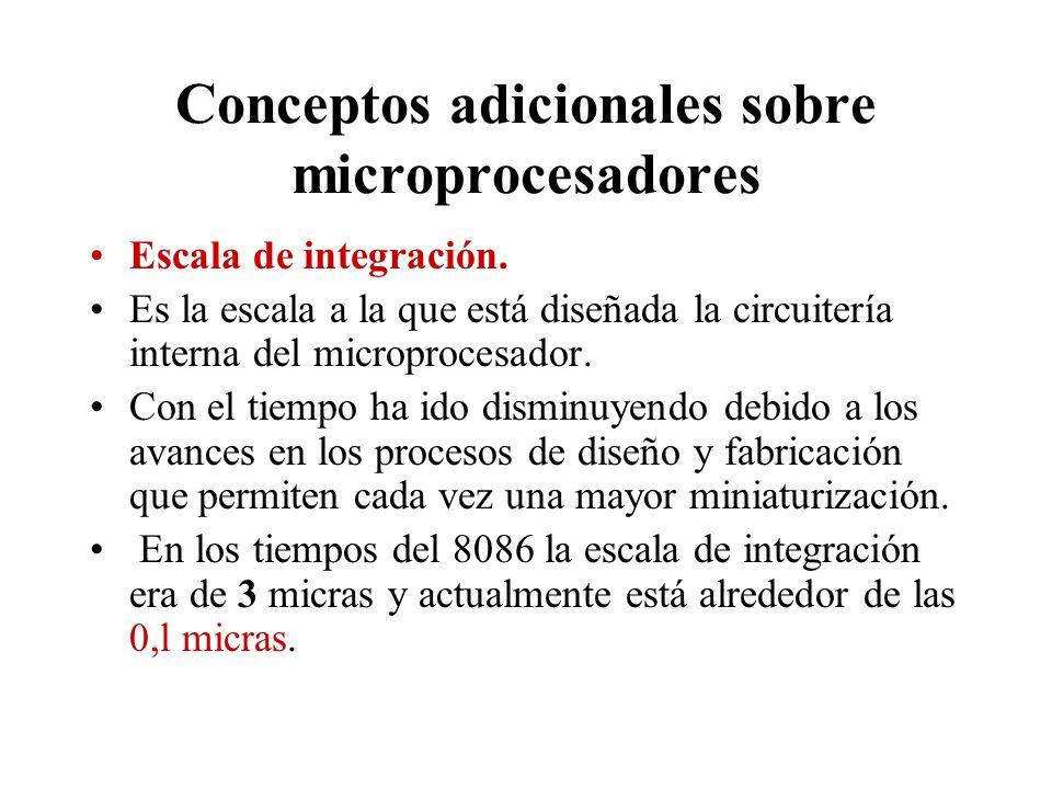 Conceptos adicionales sobre microprocesadores Escala de integración. Es la escala a la que está diseñada la circuitería interna del microprocesador. C