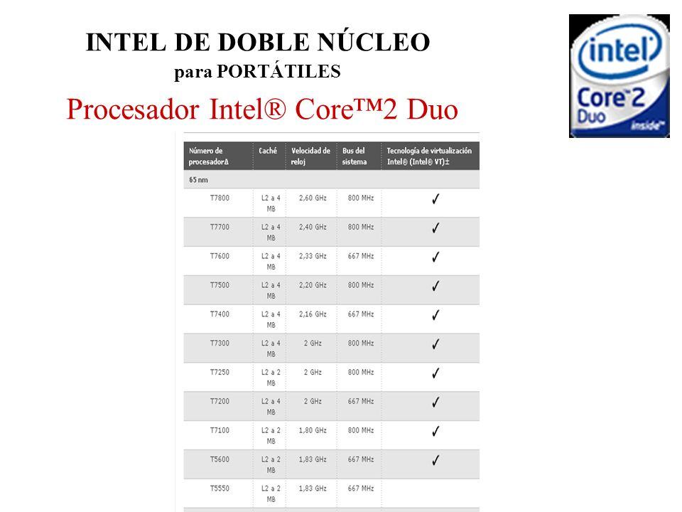 INTEL DE DOBLE NÚCLEO para PORTÁTILES Procesador Intel® Core2 Duo
