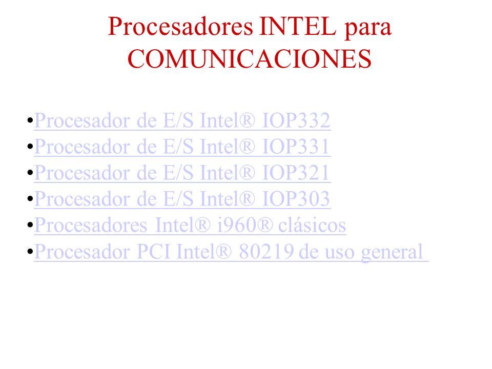 Procesadores INTEL para COMUNICACIONES Procesador de E/S Intel® IOP332 Procesador de E/S Intel® IOP331 Procesador de E/S Intel® IOP321 Procesador de E