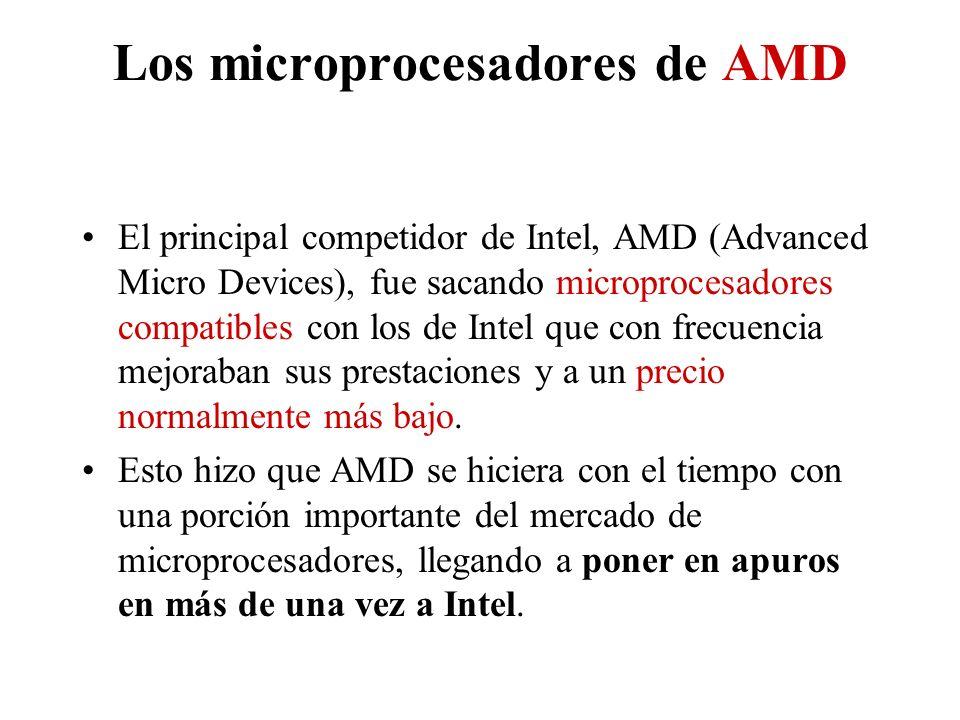 Los microprocesadores de AMD El principal competidor de Intel, AMD (Advanced Micro Devices), fue sacando microprocesadores compatibles con los de Inte