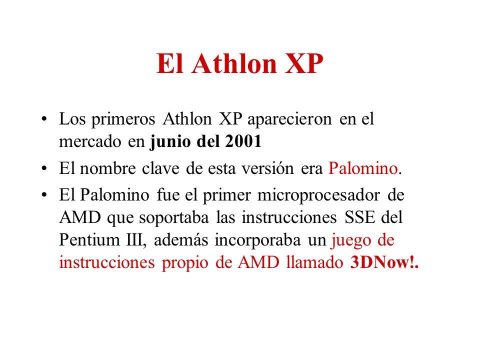 El Athlon XP Los primeros Athlon XP aparecieron en el mercado en junio del 2001 El nombre clave de esta versión era Palomino. El Palomino fue el prime