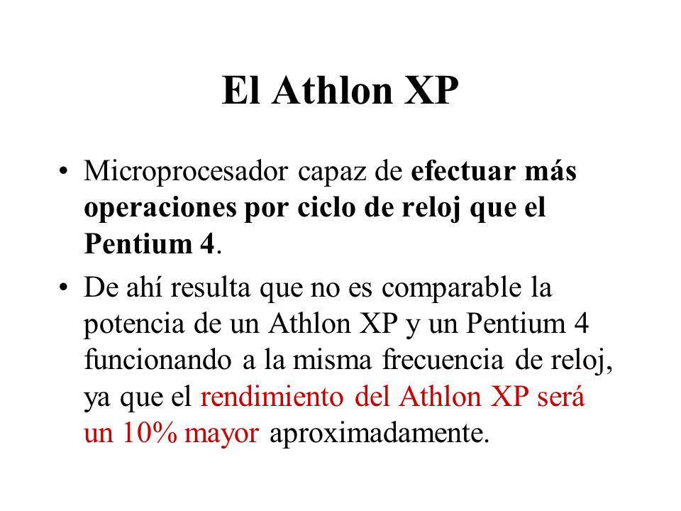 El Athlon XP Microprocesador capaz de efectuar más operaciones por ciclo de reloj que el Pentium 4. De ahí resulta que no es comparable la potencia de