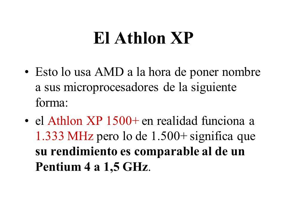 El Athlon XP Esto lo usa AMD a la hora de poner nombre a sus microprocesadores de la siguiente forma: el Athlon XP 1500+ en realidad funciona a 1.333