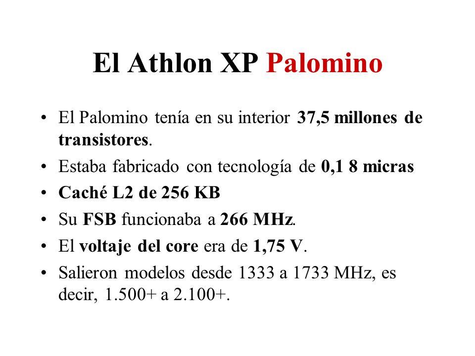 El Athlon XP Palomino El Palomino tenía en su interior 37,5 millones de transistores. Estaba fabricado con tecnología de 0,1 8 micras Caché L2 de 256