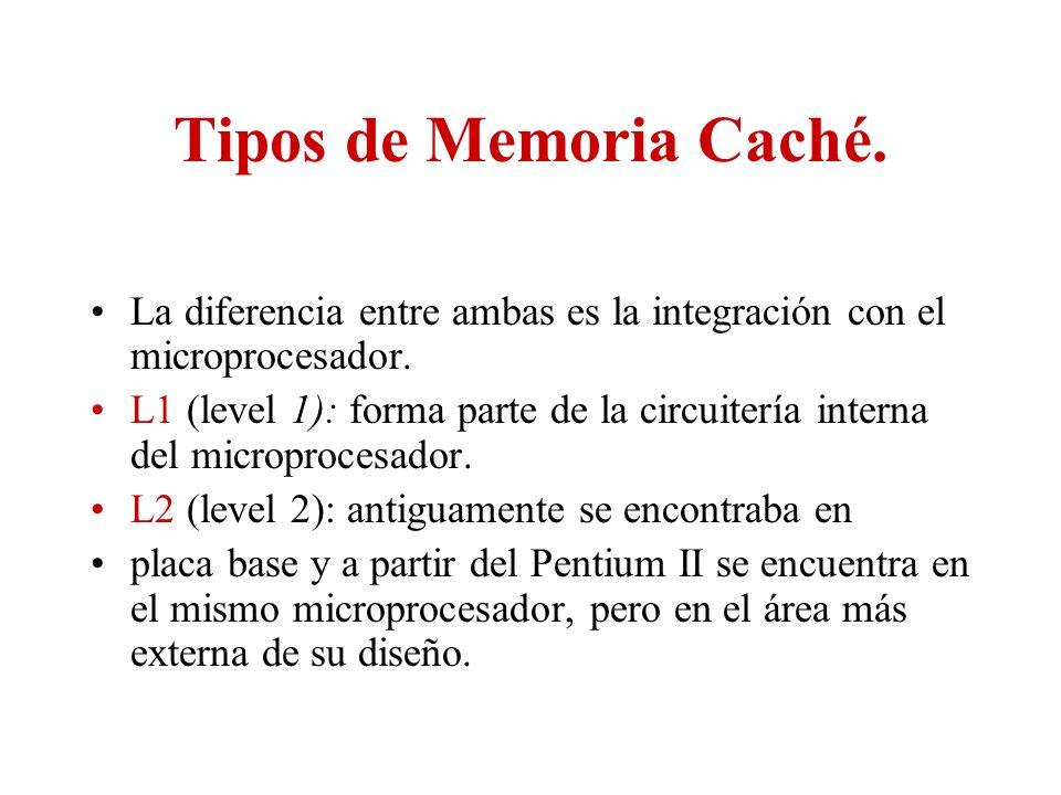 Tipos de Memoria Caché. La diferencia entre ambas es la integración con el microprocesador. L1 (level 1): forma parte de la circuitería interna del mi