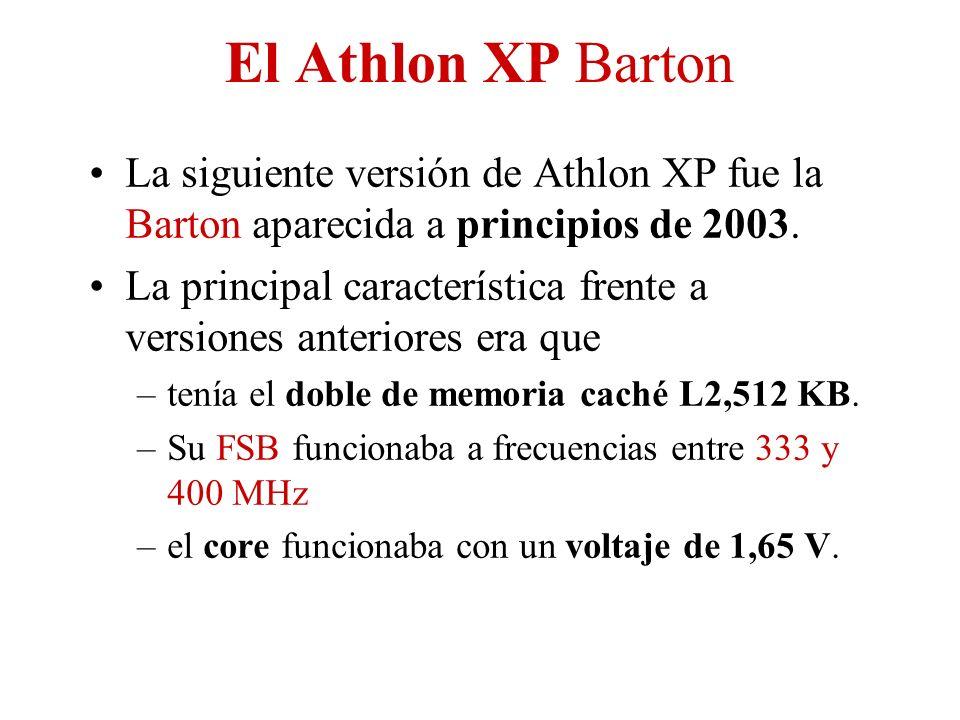 El Athlon XP Barton La siguiente versión de Athlon XP fue la Barton aparecida a principios de 2003. La principal característica frente a versiones ant