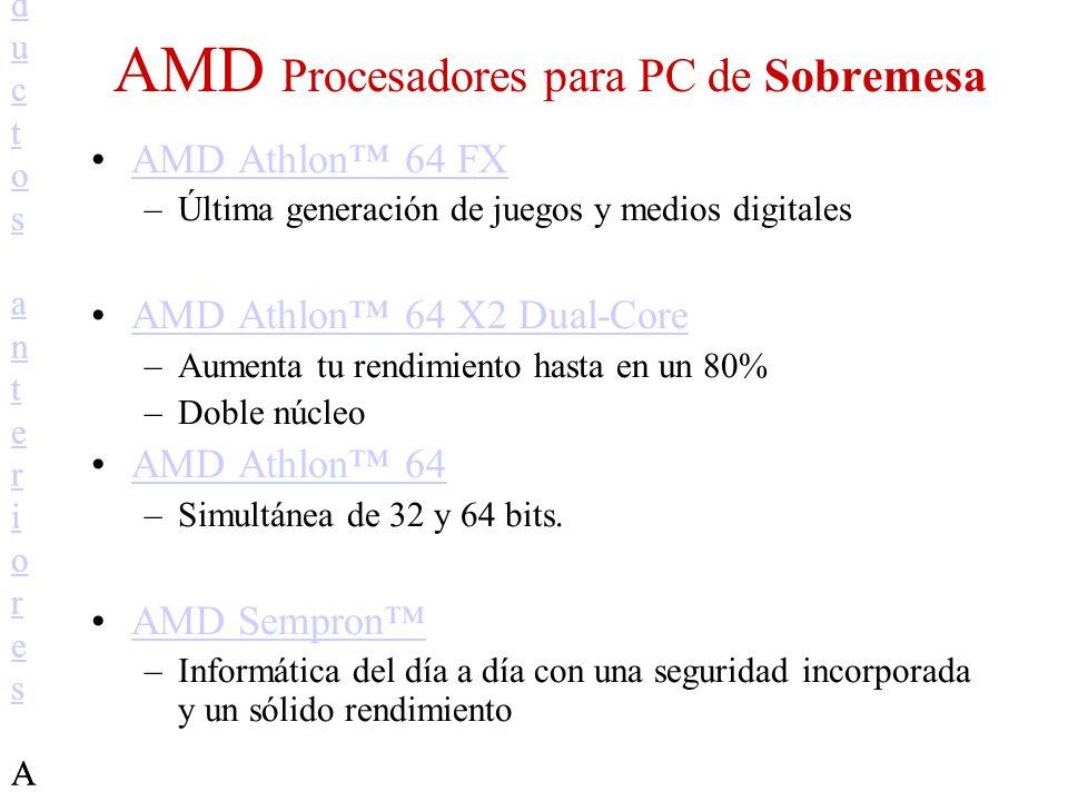 AMD Procesadores para PC de Sobremesa AMD Athlon 64 FX –Última generación de juegos y medios digitales AMD Athlon 64 X2 Dual-Core –Aumenta tu rendimie