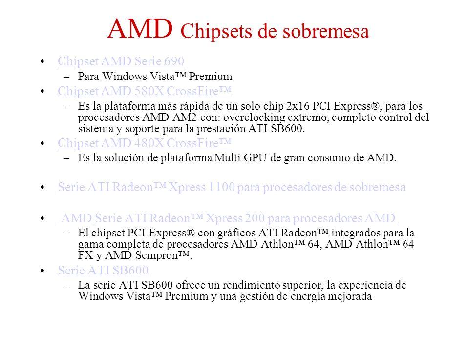 AMD Chipsets de sobremesa Chipset AMD Serie 690 –Para Windows Vista Premium Chipset AMD 580X CrossFire –Es la plataforma más rápida de un solo chip 2x