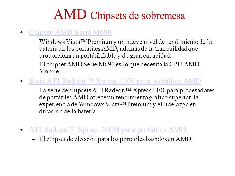AMD Chipsets de sobremesa Chipset AMD Serie M690 –Windows Vista Premium y un nuevo nivel de rendimiento de la batería en los portátiles AMD, además de