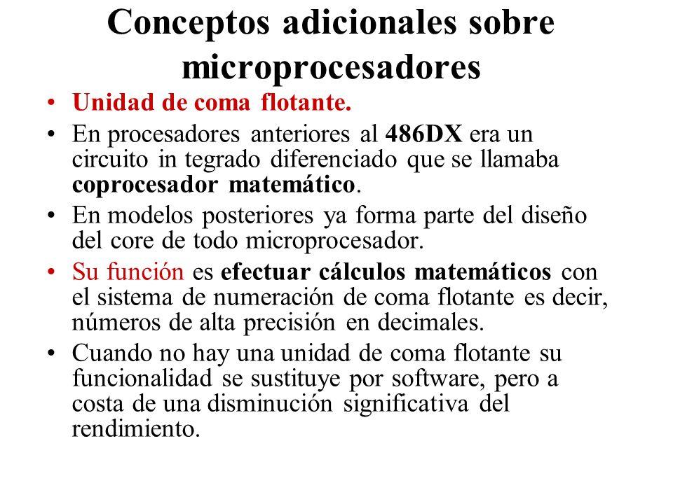 Conceptos adicionales sobre microprocesadores Unidad de coma flotante. En procesadores anteriores al 486DX era un circuito in tegrado diferenciado que