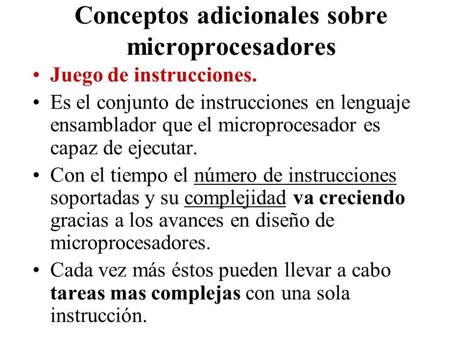 Conceptos adicionales sobre microprocesadores Juego de instrucciones. Es el conjunto de instrucciones en lenguaje ensamblador que el microprocesador e