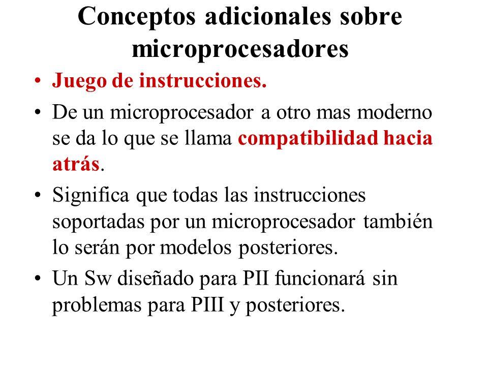Conceptos adicionales sobre microprocesadores Juego de instrucciones. De un microprocesador a otro mas moderno se da lo que se llama compatibilidad ha