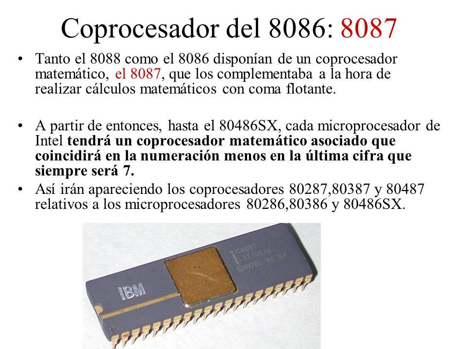 Coprocesador del 8086: 8087 Tanto el 8088 como el 8086 disponían de un coprocesador matemático, el 8087, que los complementaba a la hora de realizar c