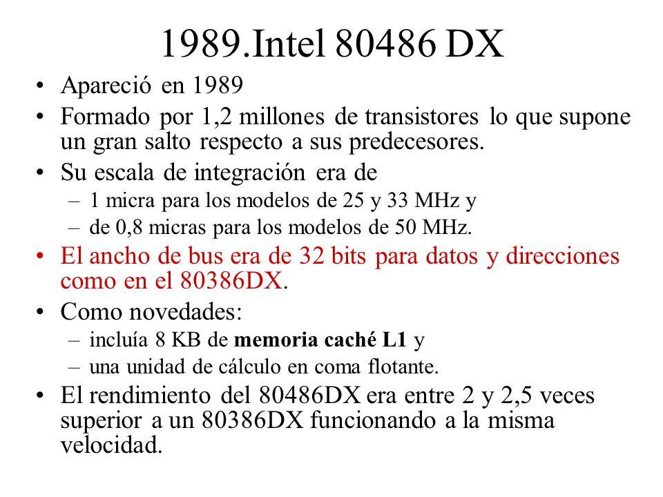 1989.Intel 80486 DX Apareció en 1989 Formado por 1,2 millones de transistores lo que supone un gran salto respecto a sus predecesores. Su escala de in