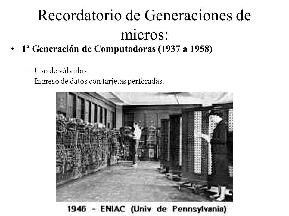 Recordatorio de Generaciones de micros: 1ª Generación de Computadoras (1937 a 1958) –Uso de válvulas. –Ingreso de datos con tarjetas perforadas.