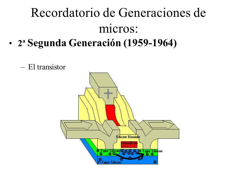 Recordatorio de Generaciones de micros: 2ª Segunda Generación (1959-1964) –El transistor
