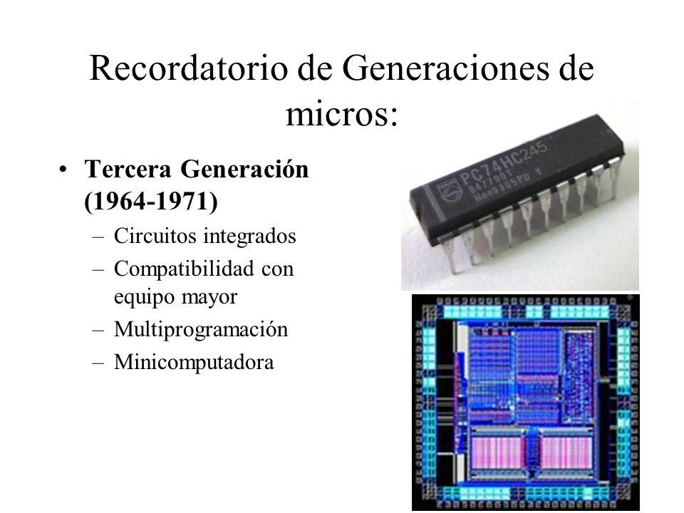Recordatorio de Generaciones de micros: Tercera Generación (1964-1971) –Circuitos integrados –Compatibilidad con equipo mayor –Multiprogramación –Mini