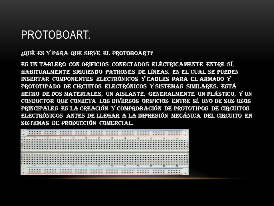PROTOBOART. ¿Qué es y para que sirve el protoboart? es un tablero con orificios conectados eléctricamente entre sí, habitualmente siguiendo patrones d