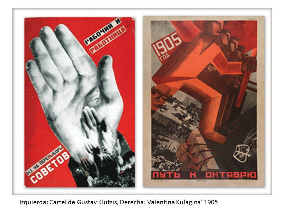Izquierda: Cartel de Gustav Klutsis, Derecha: Valentina Kulagina